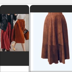 VTG VINTAGE BROWN SUEDE MIDI SKIRT